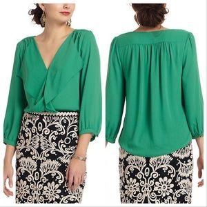 EUC Anthropologie Maeve Parted Ruffle blouse